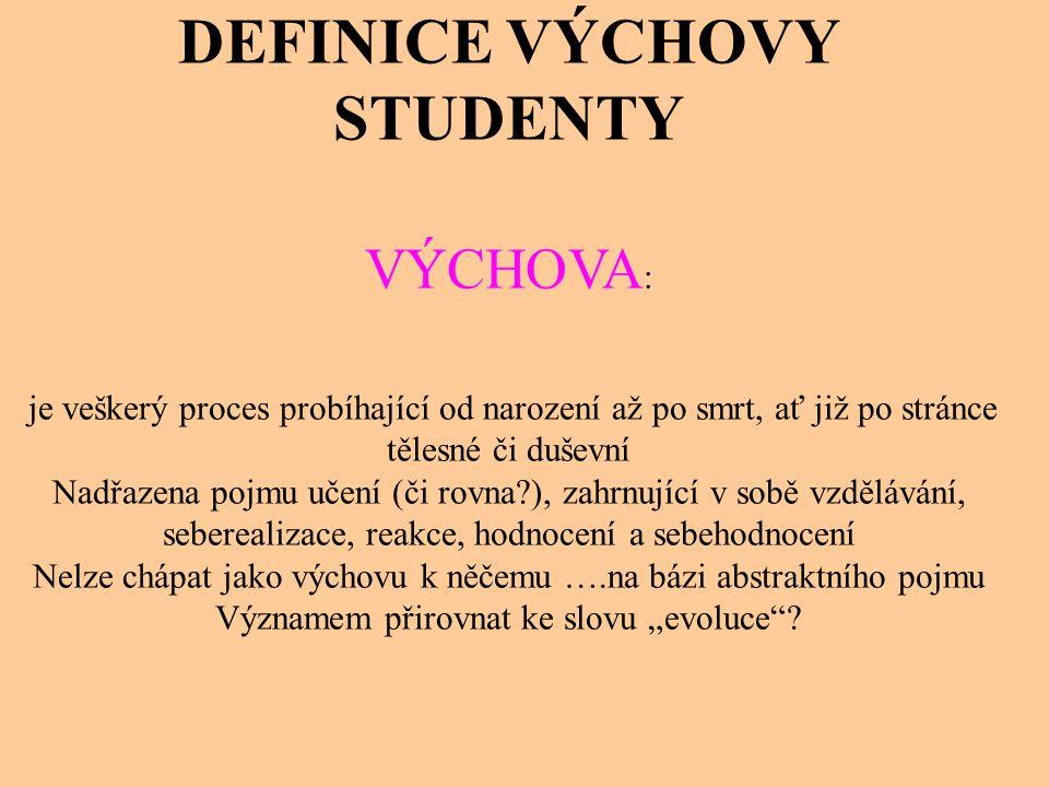 DEFINICE VÝCHOVY STUDENTY VÝCHOVA : je veškerý proces probíhající od narození až po smrt, ať již po stránce tělesné či duševní Nadřazena pojmu učení (