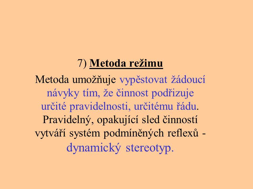 7) Metoda režimu Metoda umožňuje vypěstovat žádoucí návyky tím, že činnost podřizuje určité pravidelnosti, určitému řádu. Pravidelný, opakující sled č
