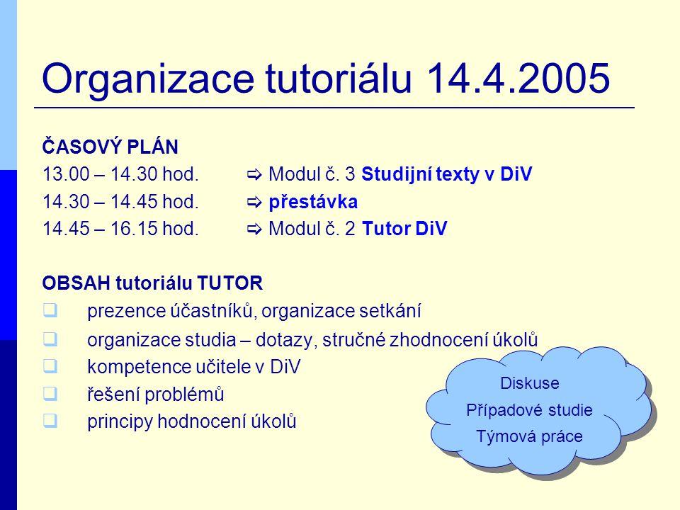 Organizace tutoriálu 14.4.2005 ČASOVÝ PLÁN 13.00 – 14.30 hod.