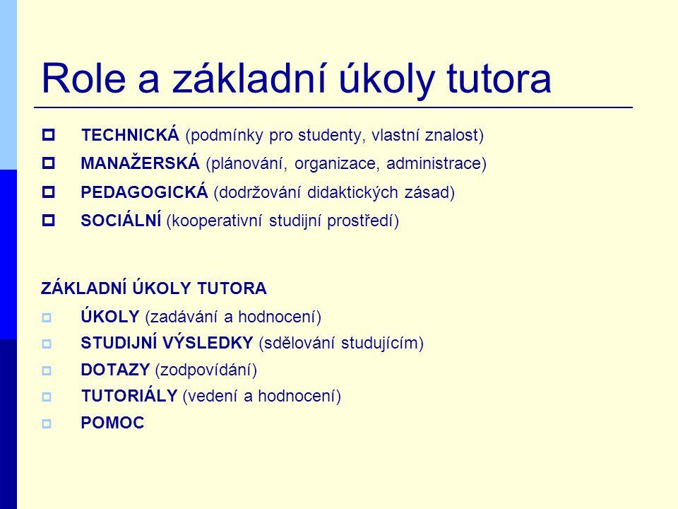 Role a základní úkoly tutora  TECHNICKÁ (podmínky pro studenty, vlastní znalost)  MANAŽERSKÁ (plánování, organizace, administrace)  PEDAGOGICKÁ (dodržování didaktických zásad)  SOCIÁLNÍ (kooperativní studijní prostředí) ZÁKLADNÍ ÚKOLY TUTORA  ÚKOLY (zadávání a hodnocení)  STUDIJNÍ VÝSLEDKY (sdělování studujícím)  DOTAZY (zodpovídání)  TUTORIÁLY (vedení a hodnocení)  POMOC