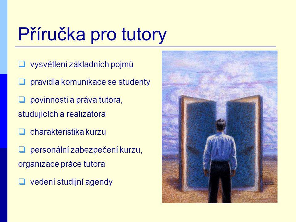 Příručka pro tutory  vysvětlení základních pojmů  pravidla komunikace se studenty  povinnosti a práva tutora, studujících a realizátora  charakteristika kurzu  personální zabezpečení kurzu, organizace práce tutora  vedení studijní agendy