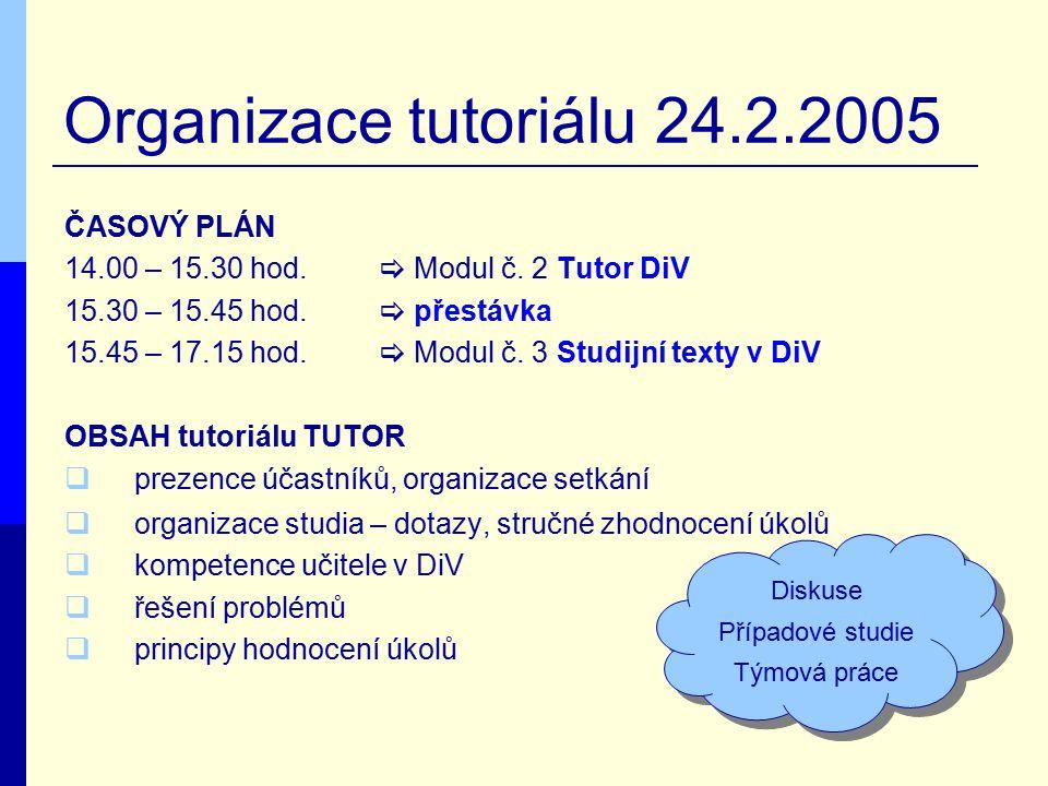 Organizace tutoriálu 24.2.2005 ČASOVÝ PLÁN 14.00 – 15.30 hod.  Modul č. 2 Tutor DiV 15.30 – 15.45 hod.  přestávka 15.45 – 17.15 hod.  Modul č. 3 St