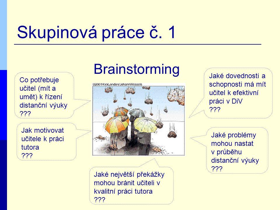 Skupinová práce č. 1 Brainstorming Jaké dovednosti a schopnosti má mít učitel k efektivní práci v DiV ??? Co potřebuje učitel (mít a umět) k řízení di