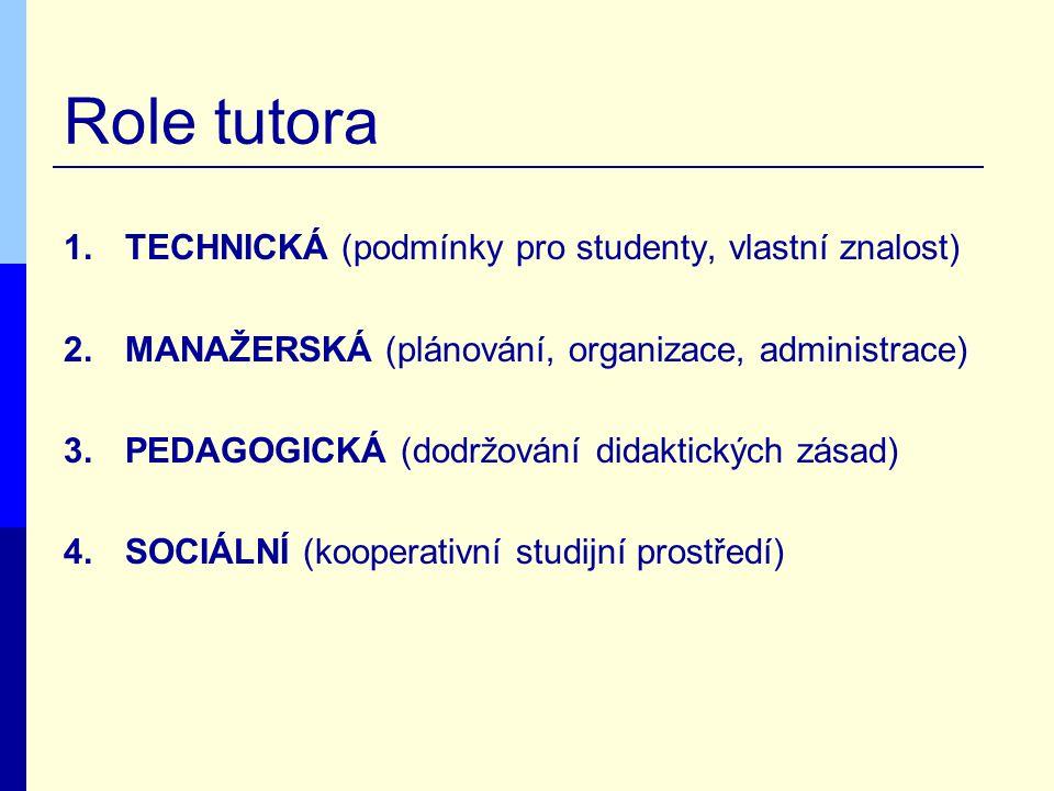 Role tutora 1.TECHNICKÁ (podmínky pro studenty, vlastní znalost) 2.MANAŽERSKÁ (plánování, organizace, administrace) 3.PEDAGOGICKÁ (dodržování didaktic