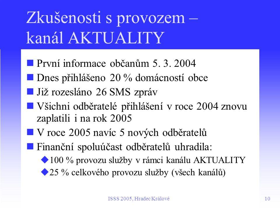 10ISSS 2005, Hradec Králové Zkušenosti s provozem – kanál AKTUALITY První informace občanům 5.