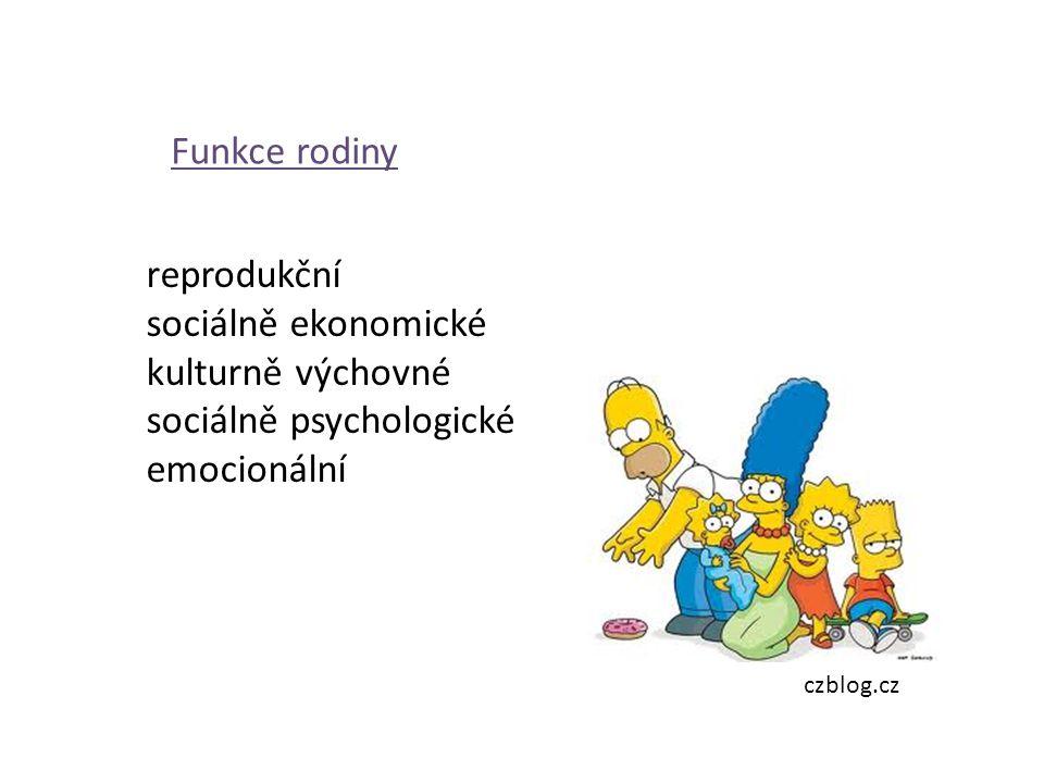 Funkce rodiny reprodukční sociálně ekonomické kulturně výchovné sociálně psychologické emocionální czblog.cz