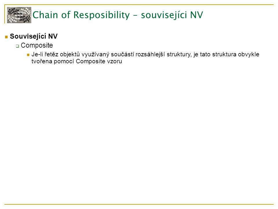 Chain of Resposibility – souvisejíci NV Související NV  Composite Je-li řetěz objektů využívaný součástí rozsáhlejší struktury, je tato struktura obvykle tvořena pomocí Composite vzoru