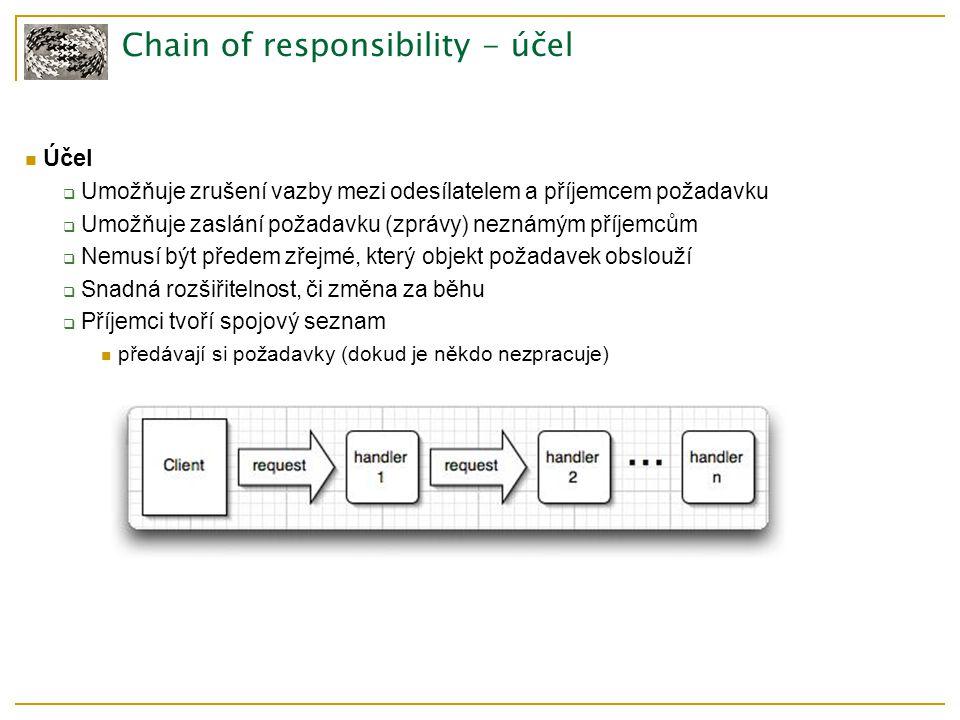 Chain of responsibility - účel Účel  Umožňuje zrušení vazby mezi odesílatelem a příjemcem požadavku  Umožňuje zaslání požadavku (zprávy) neznámým příjemcům  Nemusí být předem zřejmé, který objekt požadavek obslouží  Snadná rozšiřitelnost, či změna za běhu  Příjemci tvoří spojový seznam předávají si požadavky (dokud je někdo nezpracuje)
