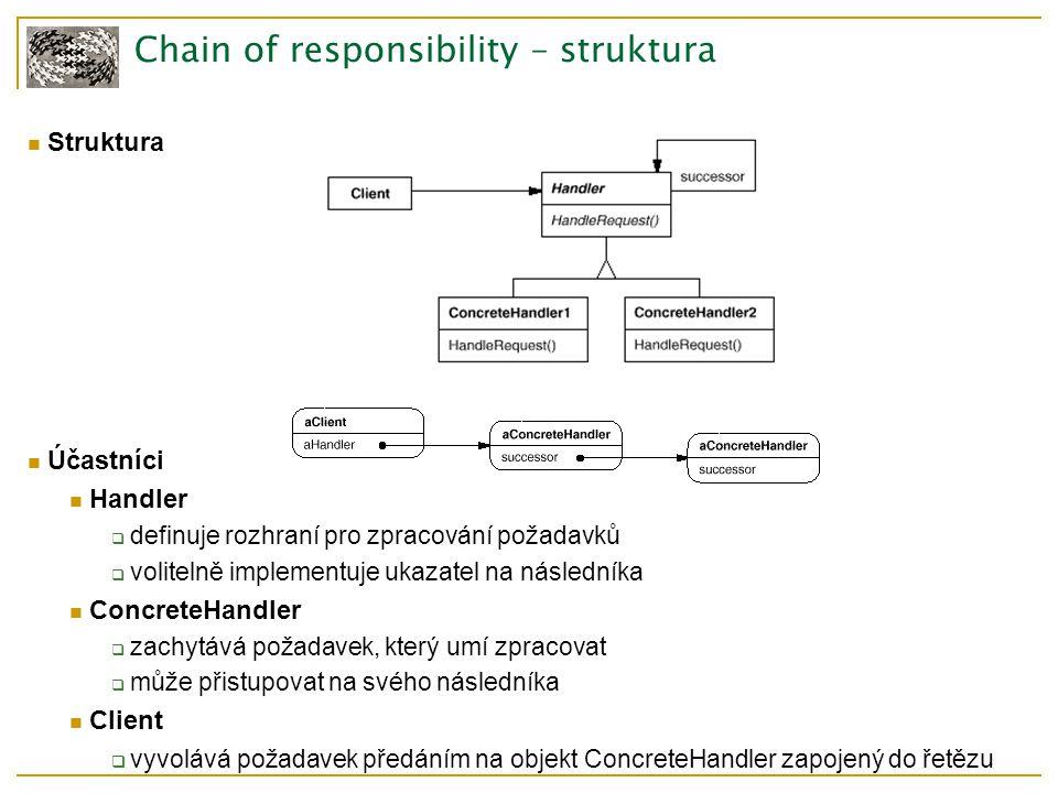 Chain of responsibility – struktura Struktura Účastníci Handler  definuje rozhraní pro zpracování požadavků  volitelně implementuje ukazatel na následníka ConcreteHandler  zachytává požadavek, který umí zpracovat  může přistupovat na svého následníka Client  vyvolává požadavek předáním na objekt ConcreteHandler zapojený do řetězu