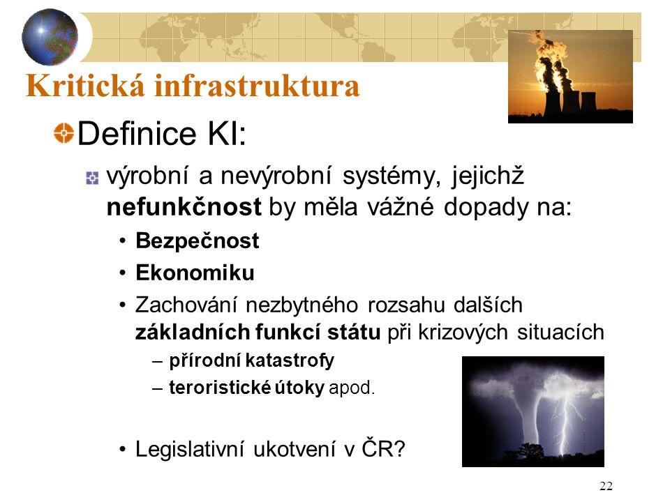 22 Kritická infrastruktura Definice KI: výrobní a nevýrobní systémy, jejichž nefunkčnost by měla vážné dopady na: Bezpečnost Ekonomiku Zachování nezby
