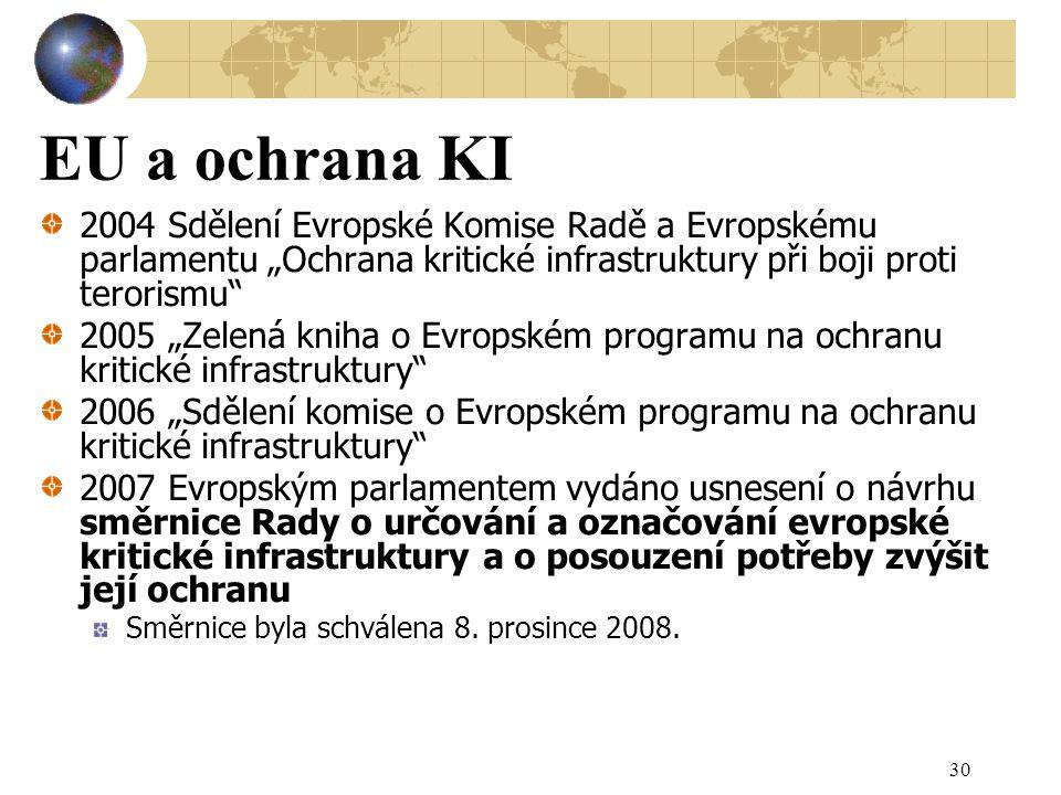 """EU a ochrana KI 2004 Sdělení Evropské Komise Radě a Evropskému parlamentu """"Ochrana kritické infrastruktury při boji proti terorismu 2005 """"Zelená kniha o Evropském programu na ochranu kritické infrastruktury 2006 """"Sdělení komise o Evropském programu na ochranu kritické infrastruktury 2007 Evropským parlamentem vydáno usnesení o návrhu směrnice Rady o určování a označování evropské kritické infrastruktury a o posouzení potřeby zvýšit její ochranu Směrnice byla schválena 8."""