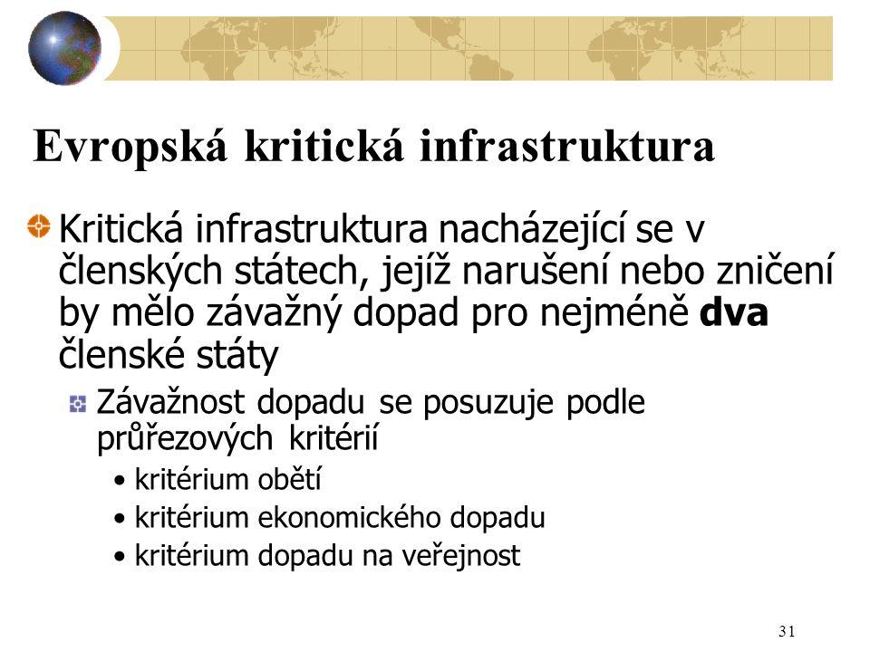 31 Evropská kritická infrastruktura Kritická infrastruktura nacházející se v členských státech, jejíž narušení nebo zničení by mělo závažný dopad pro nejméně dva členské státy Závažnost dopadu se posuzuje podle průřezových kritérií kritérium obětí kritérium ekonomického dopadu kritérium dopadu na veřejnost