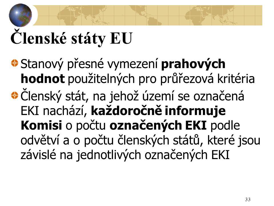 Členské státy EU Stanový přesné vymezení prahových hodnot použitelných pro průřezová kritéria Členský stát, na jehož území se označená EKI nachází, každoročně informuje Komisi o počtu označených EKI podle odvětví a o počtu členských států, které jsou závislé na jednotlivých označených EKI 33