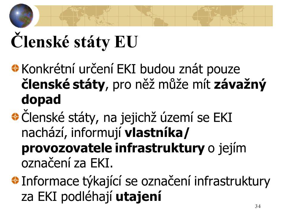 Členské státy EU Konkrétní určení EKI budou znát pouze členské státy, pro něž může mít závažný dopad Členské státy, na jejichž území se EKI nachází, informují vlastníka/ provozovatele infrastruktury o jejím označení za EKI.