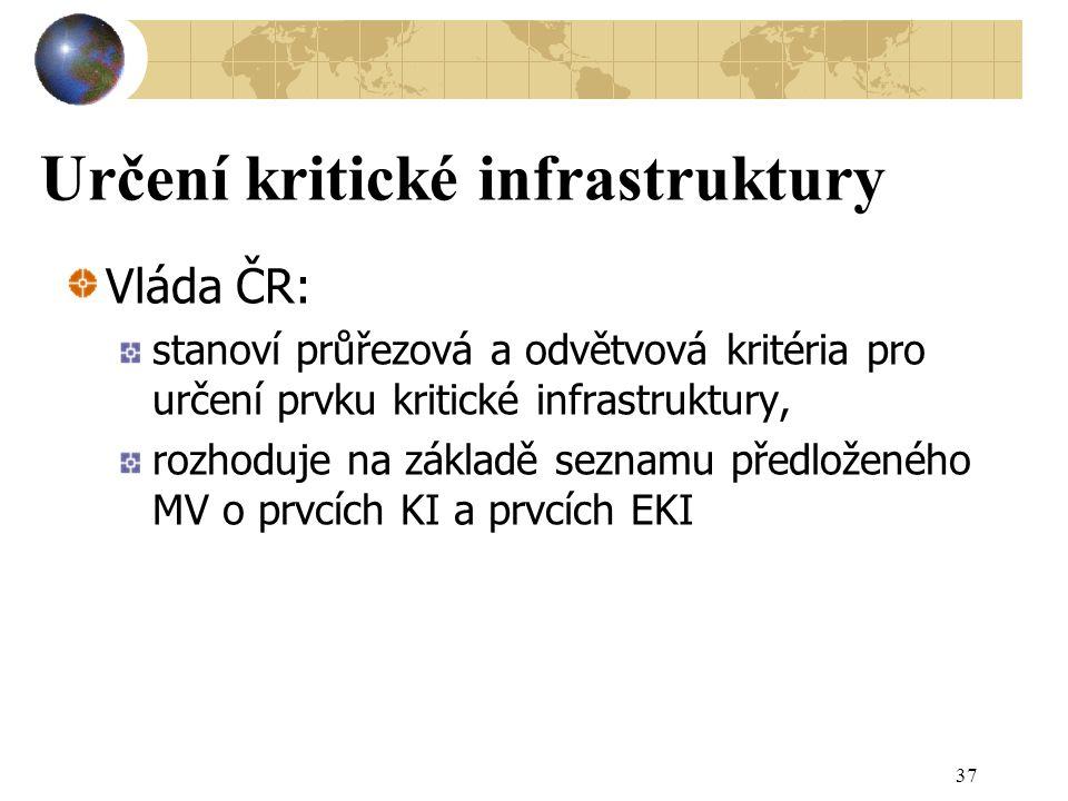Určení kritické infrastruktury Vláda ČR: stanoví průřezová a odvětvová kritéria pro určení prvku kritické infrastruktury, rozhoduje na základě seznamu předloženého MV o prvcích KI a prvcích EKI 37