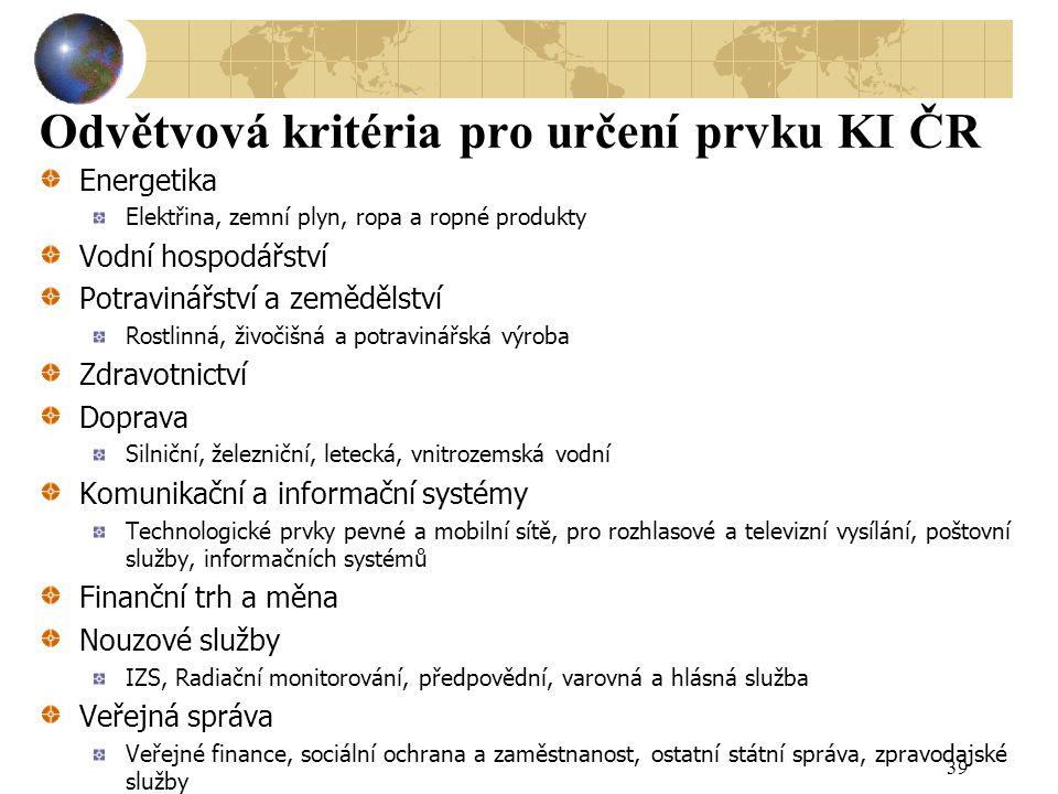 Odvětvová kritéria pro určení prvku KI ČR Energetika Elektřina, zemní plyn, ropa a ropné produkty Vodní hospodářství Potravinářství a zemědělství Rost