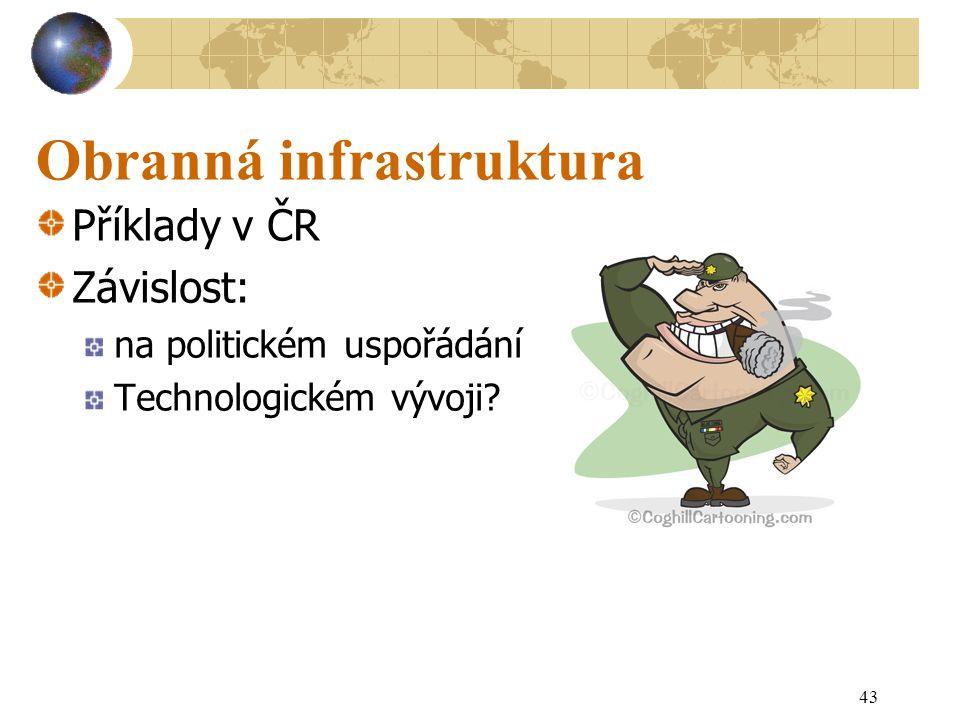43 Obranná infrastruktura Příklady v ČR Závislost: na politickém uspořádání Technologickém vývoji?