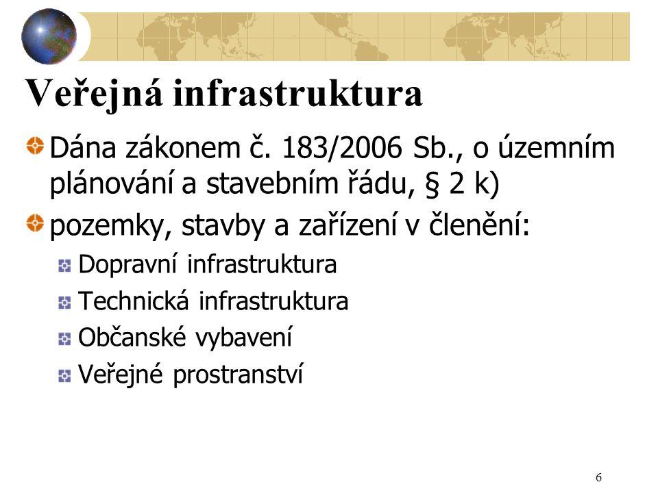 Veřejná infrastruktura Dána zákonem č. 183/2006 Sb., o územním plánování a stavebním řádu, § 2 k) pozemky, stavby a zařízení v členění: Dopravní infra
