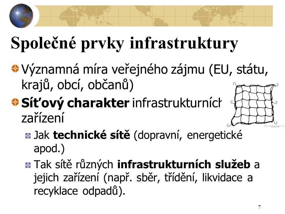 Společné prvky infrastruktury Významná míra veřejného zájmu (EU, státu, krajů, obcí, občanů) Síťový charakter infrastrukturních zařízení Jak technické sítě (dopravní, energetické apod.) Tak sítě různých infrastrukturních služeb a jejich zařízení (např.