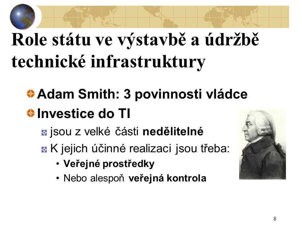 Role státu ve výstavbě a údržbě technické infrastruktury Adam Smith: 3 povinnosti vládce Investice do TI jsou z velké části nedělitelné K jejich účinné realizaci jsou třeba: Veřejné prostředky Nebo alespoň veřejná kontrola 8