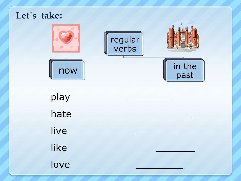 Let´s take: regular verbs now in the past play hate live like love