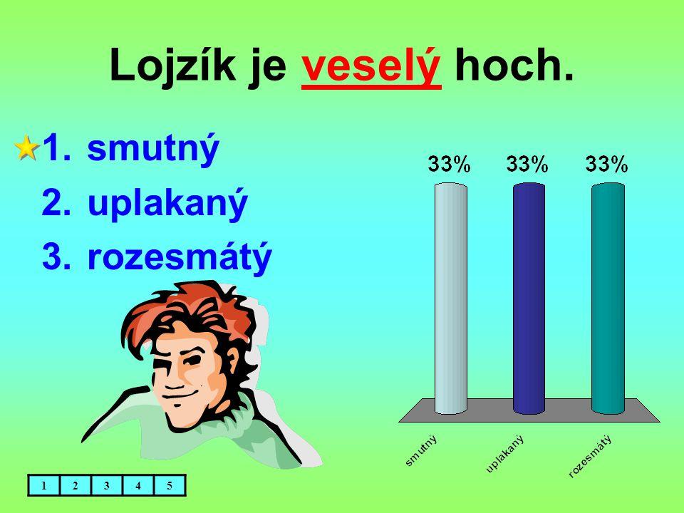 Lojzík je veselý hoch. 1.smutný 2.uplakaný 3.rozesmátý 12345