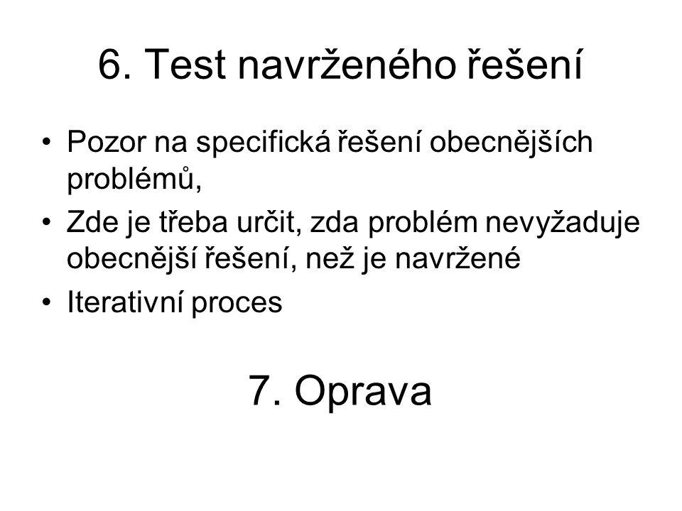 6. Test navrženého řešení Pozor na specifická řešení obecnějších problémů, Zde je třeba určit, zda problém nevyžaduje obecnější řešení, než je navržen