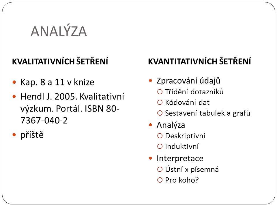 KVALITATIVNÍCH ŠETŘENÍ KVANTITATIVNÍCH ŠETŘENÍ Kap. 8 a 11 v knize Hendl J. 2005. Kvalitativní výzkum. Portál. ISBN 80- 7367-040-2 příště Zpracování ú