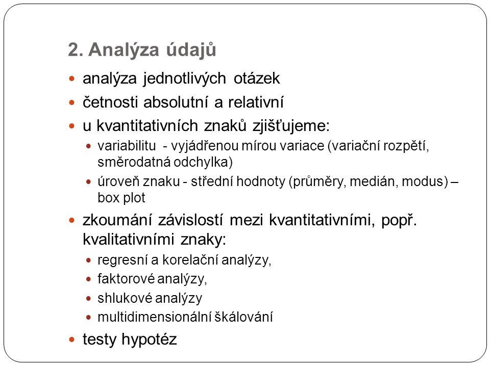 2. Analýza údajů analýza jednotlivých otázek četnosti absolutní a relativní u kvantitativních znaků zjišťujeme: variabilitu - vyjádřenou mírou variace