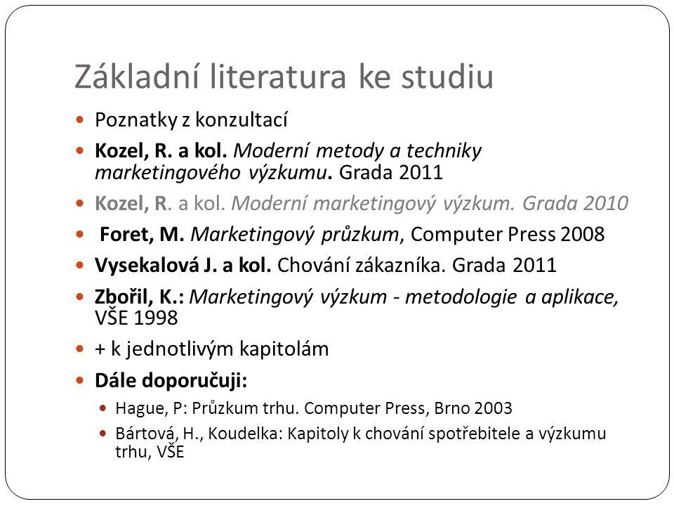 Základní literatura ke studiu Poznatky z konzultací Kozel, R. a kol. Moderní metody a techniky marketingového výzkumu. Grada 2011 Kozel, R. a kol. Mod