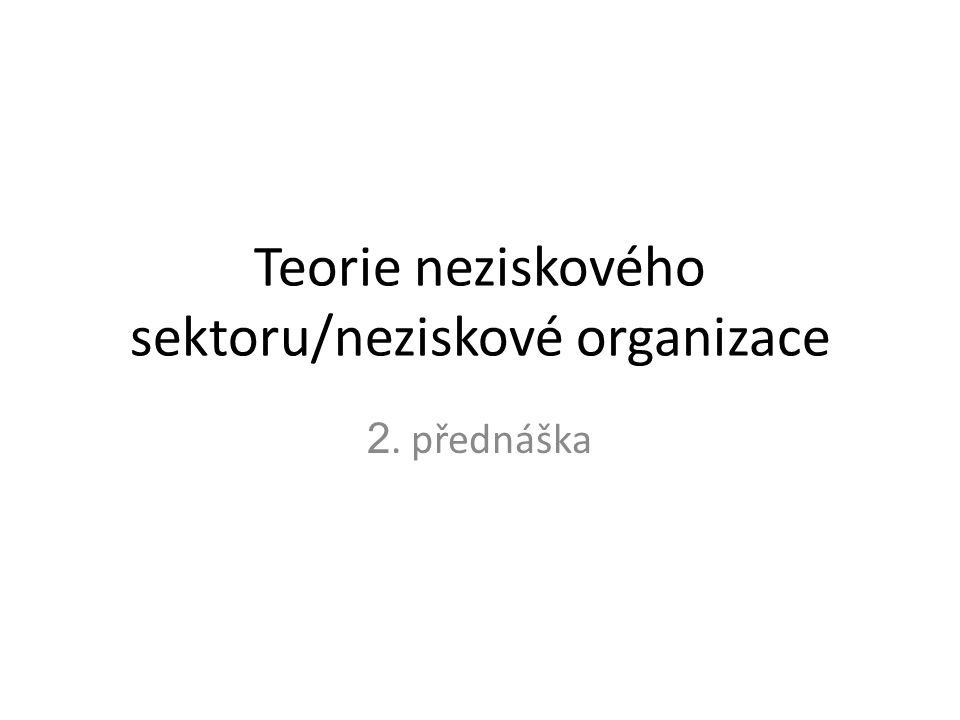 Teorie neziskového sektoru/neziskové organizace 2. přednáška
