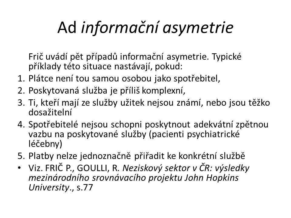 Ad informační asymetrie Frič uvádí pět případů informační asymetrie.