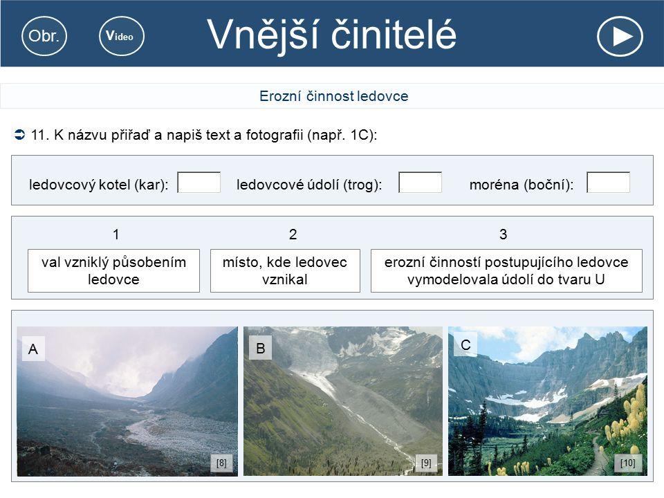 Vnější činitelé Erozní činnost ledovce  11. K názvu přiřaď a napiš text a fotografii (např. 1C): ledovcový kotel (kar):ledovcové údolí (trog):moréna