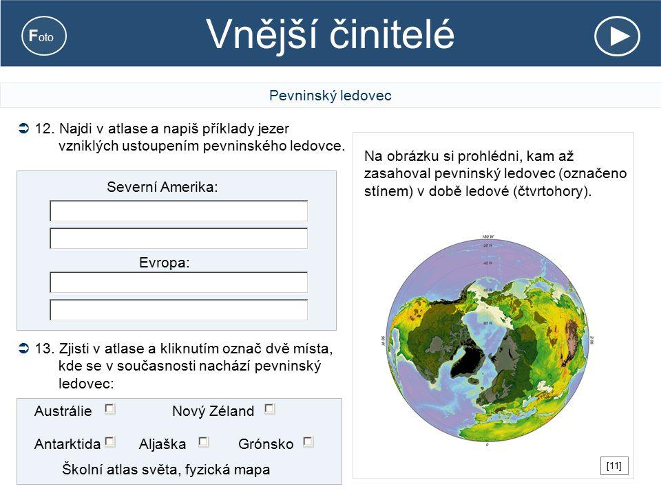 Vnější činitelé Pevninský ledovec Na obrázku si prohlédni, kam až zasahoval pevninský ledovec (označeno stínem) v době ledové (čtvrtohory). Severní Am