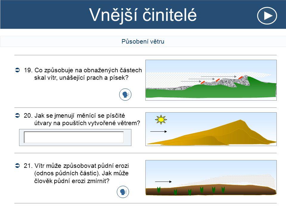 Vnější činitelé Působení větru  19. Co způsobuje na obnažených částech skal vítr, unášející prach a písek?  20. Jak se jmenují měnící se písčité útv