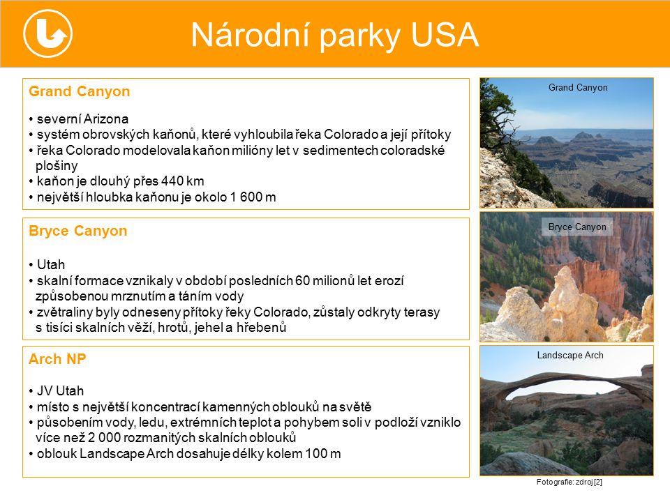 Národní parky USA Grand Canyon severní Arizona systém obrovských kaňonů, které vyhloubila řeka Colorado a její přítoky řeka Colorado modelovala kaňon
