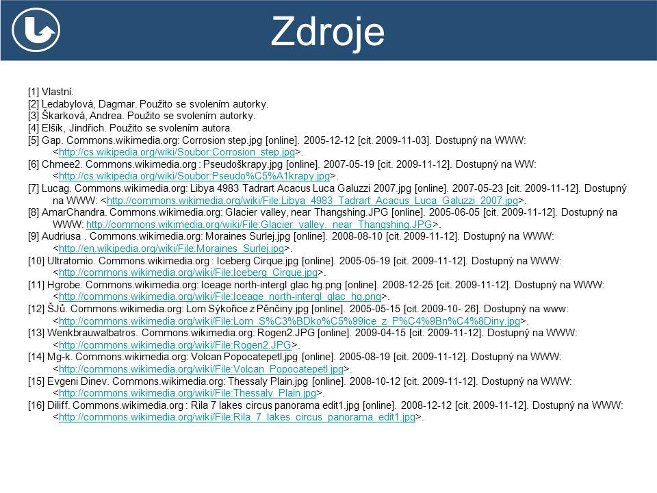 Zdroje [1] Vlastní. [2] Ledabylová, Dagmar. Použito se svolením autorky. [3] Škarková, Andrea. Použito se svolením autorky. [4] Elšík, Jindřich. Použi