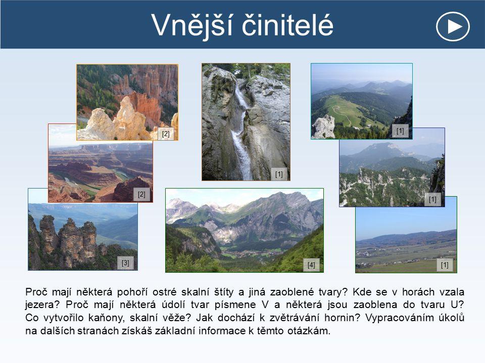 Vnější činitelé Proč mají některá pohoří ostré skalní štíty a jiná zaoblené tvary? Kde se v horách vzala jezera? Proč mají některá údolí tvar písmene