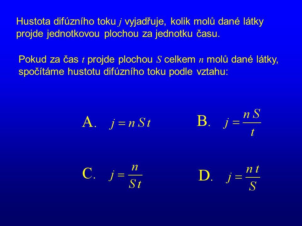 Hustota difúzního toku j vyjadřuje, kolik molů dané látky projde jednotkovou plochou za jednotku času. Pokud za čas t projde plochou S celkem n molů d