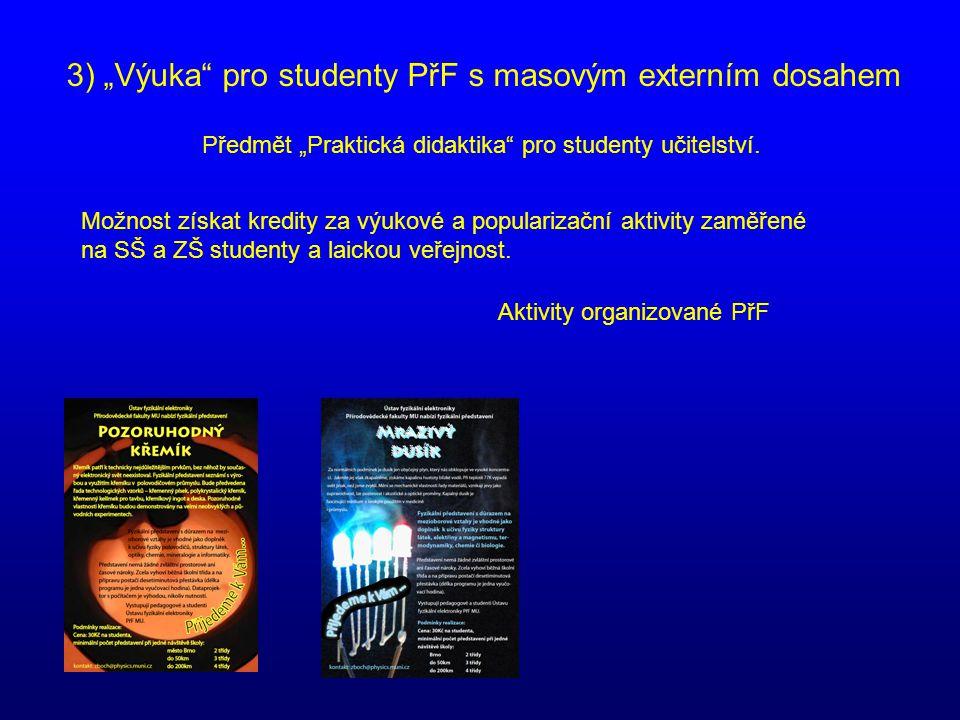 """3) """"Výuka"""" pro studenty PřF s masovým externím dosahem Předmět """"Praktická didaktika"""" pro studenty učitelství. Možnost získat kredity za výukové a popu"""