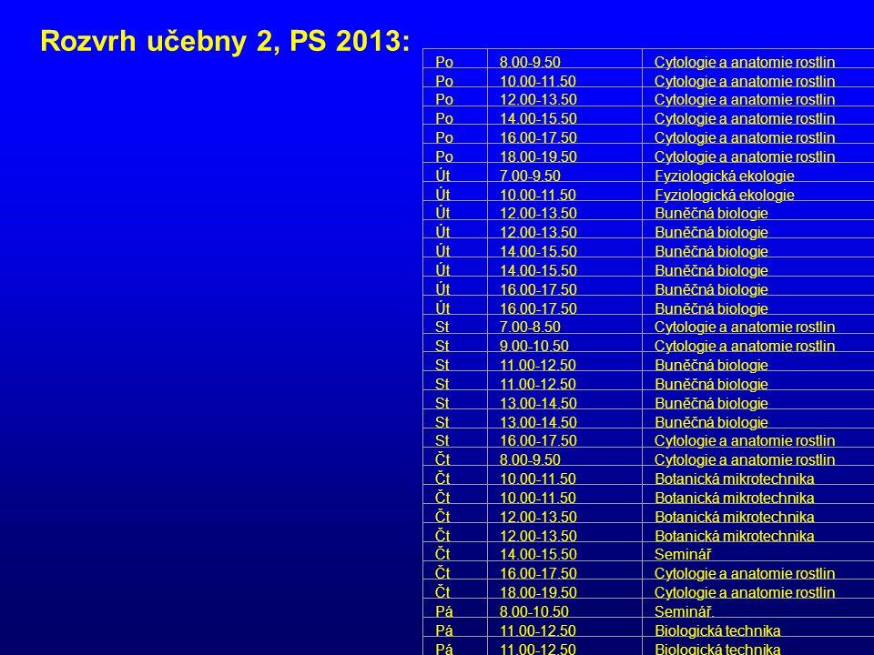 Po8.00-9.50Cytologie a anatomie rostlin Po10.00-11.50Cytologie a anatomie rostlin Po12.00-13.50Cytologie a anatomie rostlin Po14.00-15.50Cytologie a a