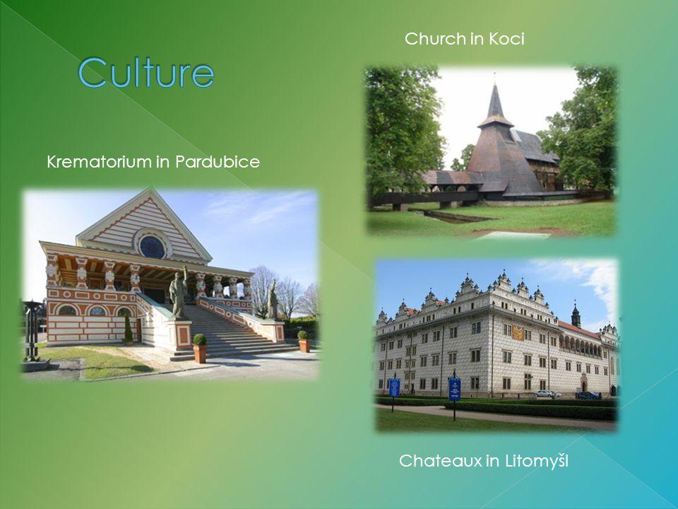 Krematorium in Pardubice Church in Koci Chateaux in Litomyšl