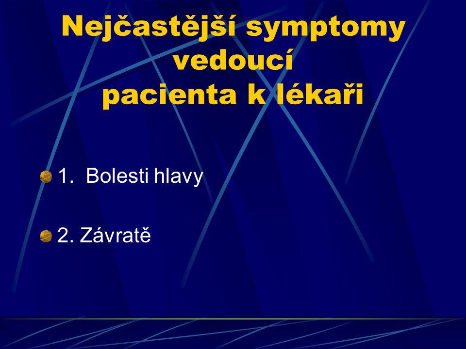Nejčastější symptomy vedoucí pacienta k lékaři 1. Bolesti hlavy 2. Závratě