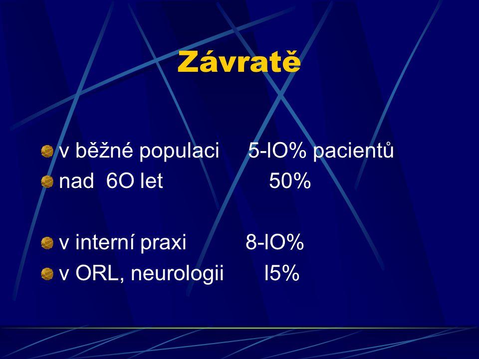 Závratě v běžné populaci 5-lO% pacientů nad 6O let 50% v interní praxi 8-lO% v ORL, neurologii l5%