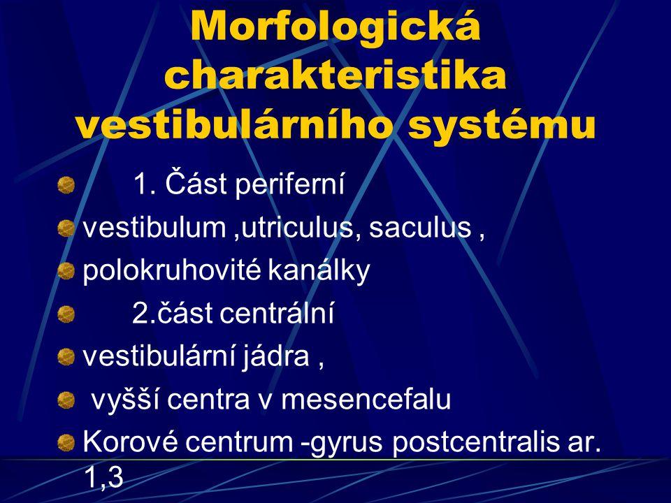 Morfologická charakteristika vestibulárního systému 1. Část periferní vestibulum,utriculus, saculus, polokruhovité kanálky 2.část centrální vestibulár