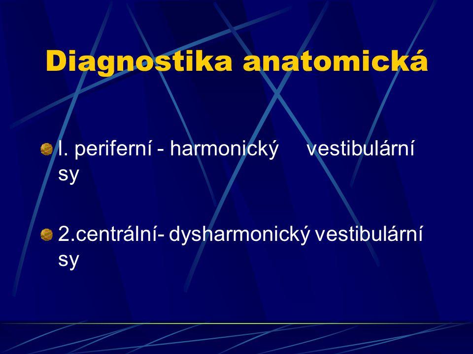Diagnostika anatomická l. periferní - harmonický vestibulární sy 2.centrální- dysharmonický vestibulární sy