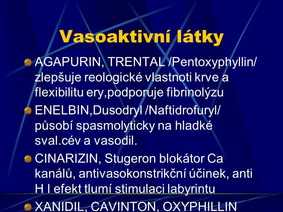 Vasoaktivní látky AGAPURIN, TRENTAL /Pentoxyphyllin/ zlepšuje reologické vlastnoti krve a flexibilitu ery,podporuje fibrinolýzu ENELBIN,Dusodryl /Naft