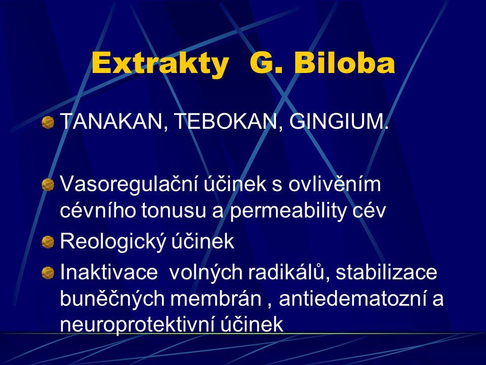 Extrakty G. Biloba TANAKAN, TEBOKAN, GINGIUM. Vasoregulační účinek s ovlivěním cévního tonusu a permeability cév Reologický účinek Inaktivace volných