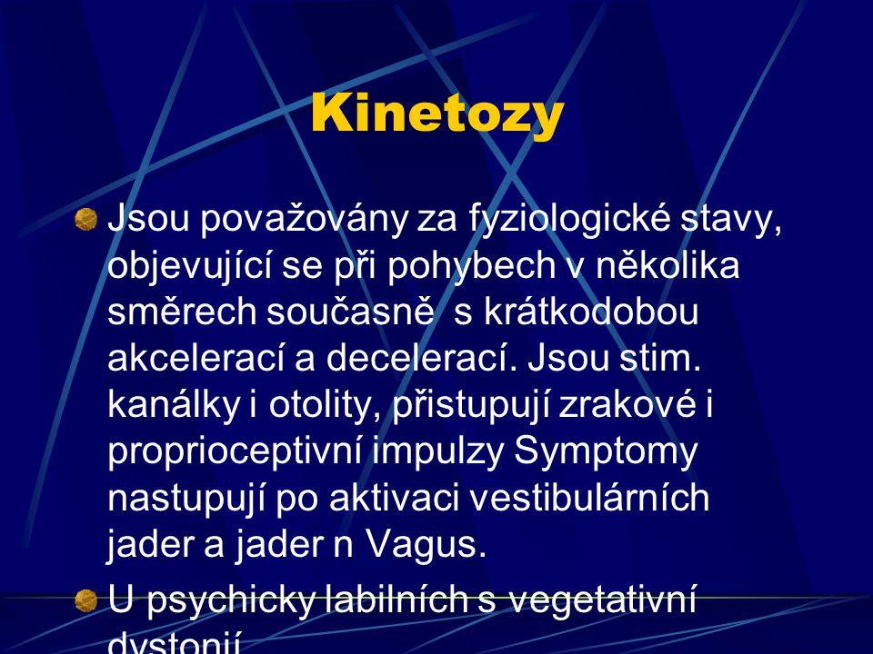 Kinetozy Jsou považovány za fyziologické stavy, objevující se při pohybech v několika směrech současně s krátkodobou akcelerací a decelerací. Jsou sti