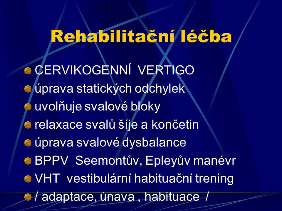 Rehabilitační léčba CERVIKOGENNÍ VERTIGO úprava statických odchylek uvolňuje svalové bloky relaxace svalů šíje a končetin úprava svalové dysbalance BP